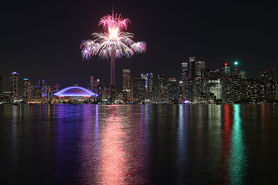 Fireworks light up the Toronto skyline to mark the conclusion of the Pan Am Games at the end of the closing ceremonies