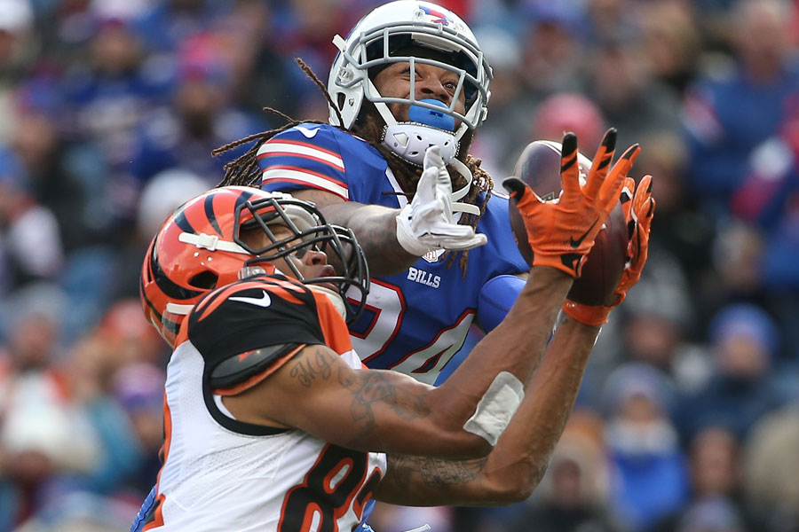 Marvin Jones makes an over-the-head catch as Stephon Gilmore tries to cover him