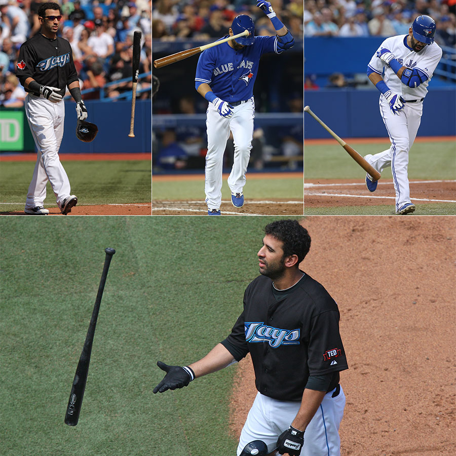 Bautista has been known to hurl and twirl his bat over the years.  Here, unlike his heroic bat ?flip? reaction, he reacts in frustration after making an out